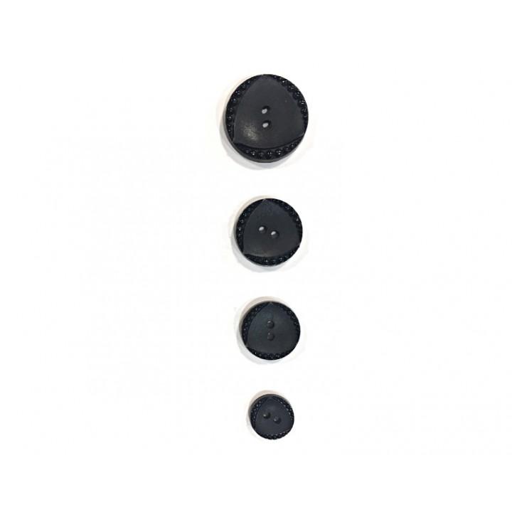 Bouton fantaisie noir  15 mm, 18 mm, 22 mm, 27 mm. - spirale et triangle