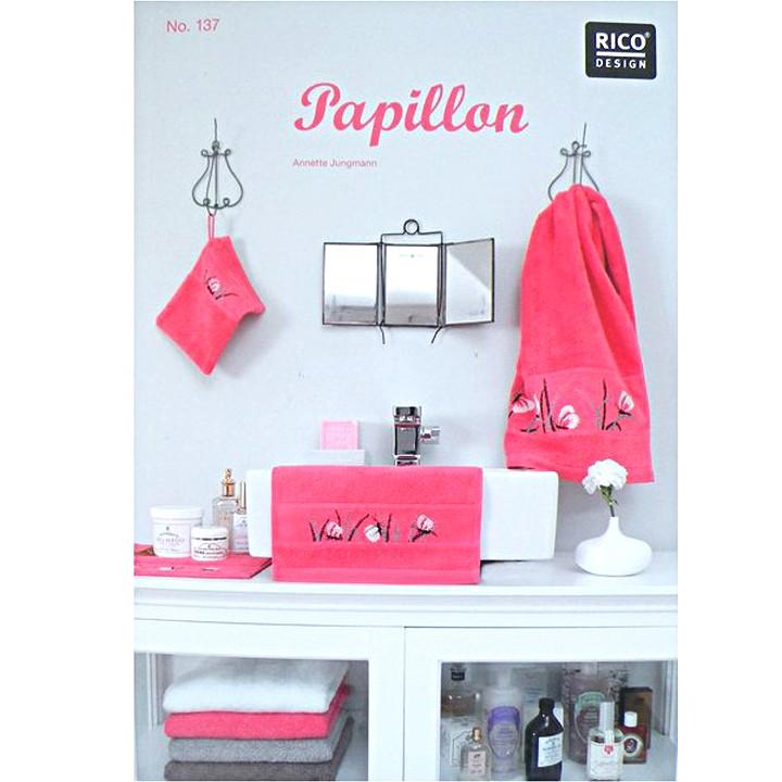 137 - Livre point de croix Papillon serviette éponge - Rico Design
