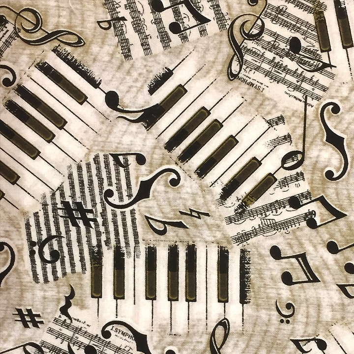 Tissu imprimé - Piano