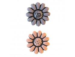 Bouton fleur beige ou prune 8 mm