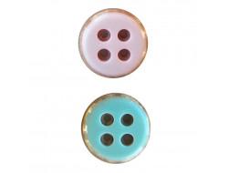 Bouton rose ou vert  15 mm