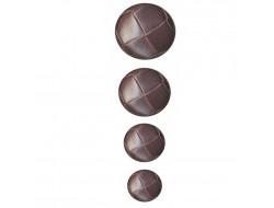 Boutons marrons pour manteau - Imitation cuir