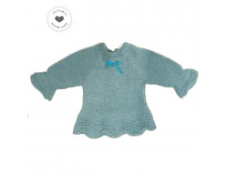 Pull bébé fille bleu - 100% fait main