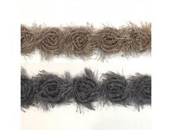 Galon fleurs sur tulle - 30 mm