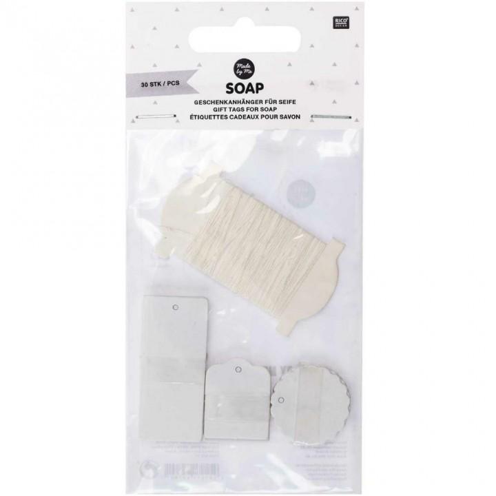 Étiquettes cadeaux pour savon, blanc