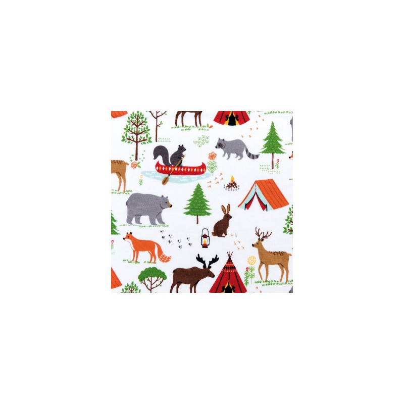 Tissu stoff animaux de la for t rico mercerie floriane for Camping a couture 49