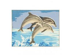 Kit canevas - Banc de dauphins