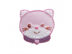 Écusson thermocollant - chat rose sequins