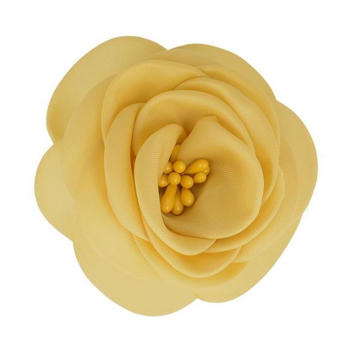 Broche fleur tissu - Jaune