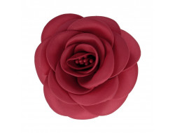 Broche fleur tissu - Carmin