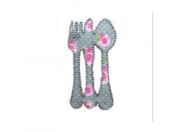 Écusson thermocollant - Couverts gris à fleurs roses