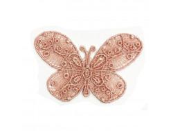 Écusson thermocollant - Papillon dentelle vieux rose
