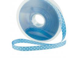 Ruban turquoise pois blanc - 10mm