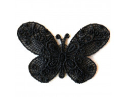 Écusson thermocollant - Papillon dentelle noir