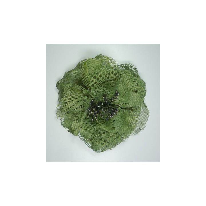 Fleur broche tissus kaki