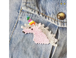 Kit Brick Stitch - Broche Licorne