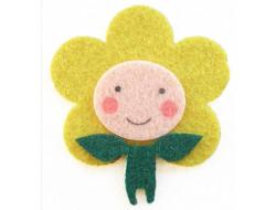 Appliqué thermocollant feutrine personnage fleur