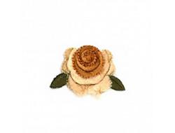 Écusson thermocollant - Fleur velours beige