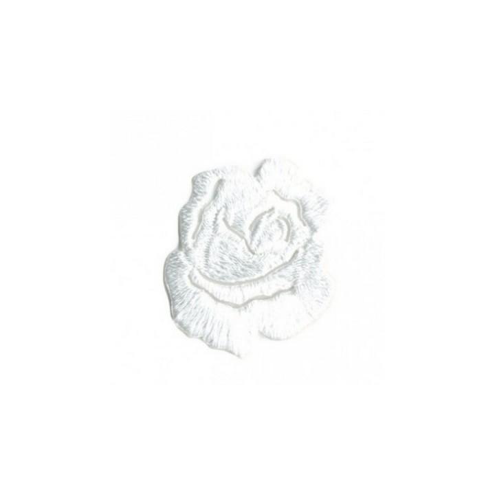 Ecusson thermocollant rose blanche