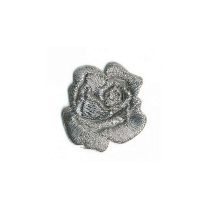 Ecusson thermocollant rose argent