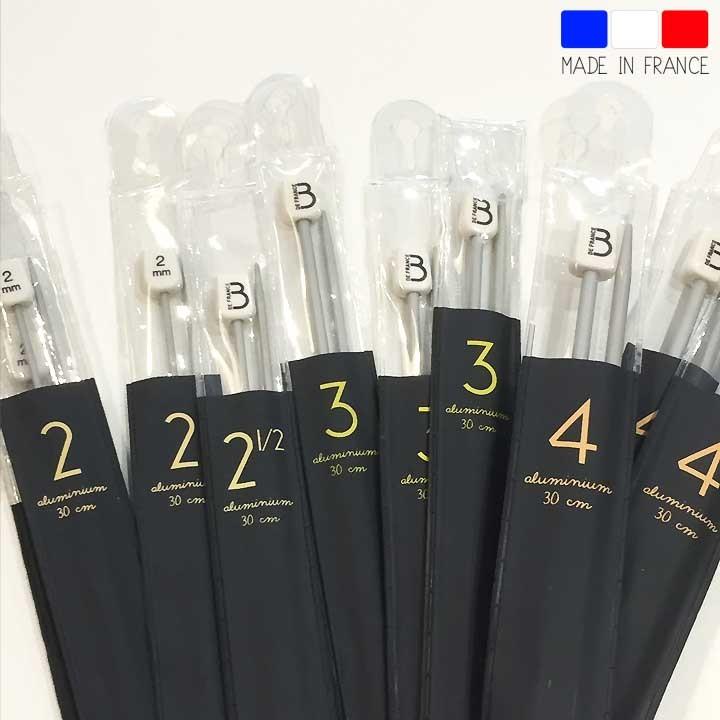 Aiguilles droites aluminium Bergère de France - 30 cm