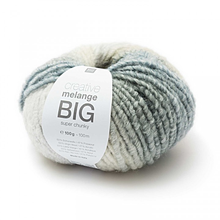 Fil Creative melange BIG super chunky - 53% Laine vierge 47% Acrylique - Rico