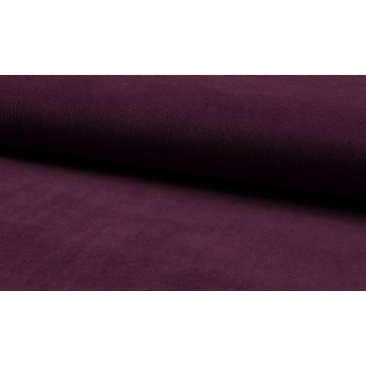 Tissu velours milleraies aubergine