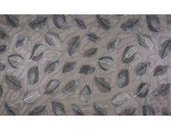 Tissu voile feuilles brodées