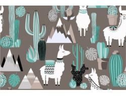 Tissu jersey - Lama cactus