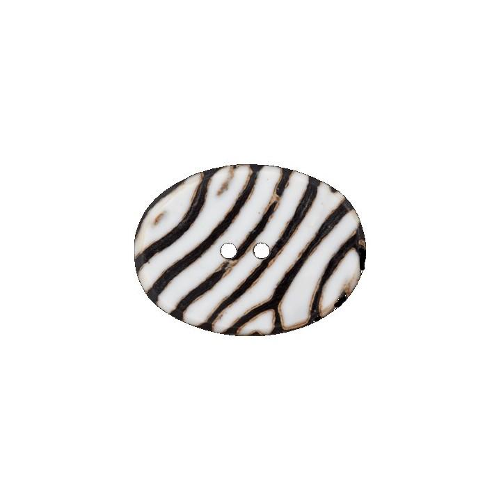 Bouton en corne noir et blanc