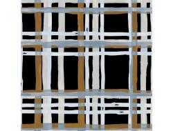 Tissu royal satin imprimé carreaux sur fond noir