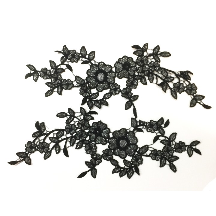 Fleurs brodées - Noir et argent