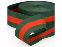 Galon stripes vert - 40 mm