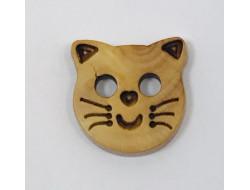 Bouton en bois tête de chat