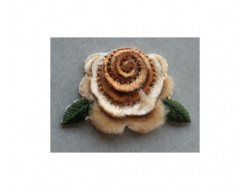 Ecusson thermocolant Fleur velour beige