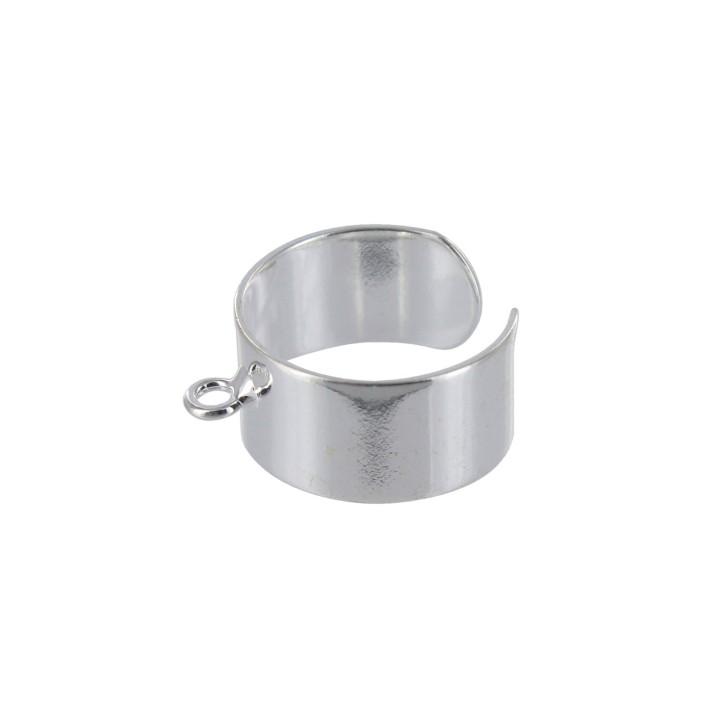 Bague avec anneau d'accrochage - Argenté
