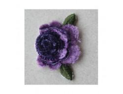 Ecusson thermocolant Fleur velour mauve