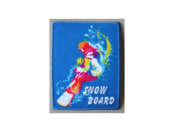 Écusson thermocollant Snow Board sur fond bleu