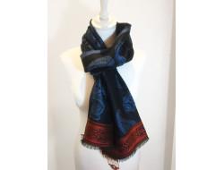 Écharpe motif cachemire bleu - Labonal