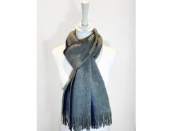Écharpe laine gris et bleu - Labonal