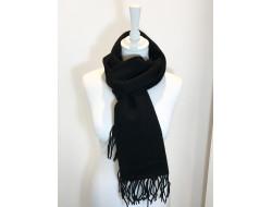 Écharpe unie 100% laine noire - Labonal