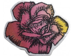 Ecusson thermocollant fleur rose