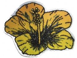 Ecusson thermocollant fleur hibiscus jaune
