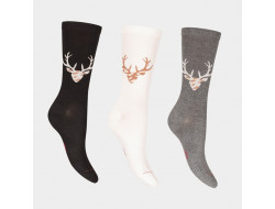 Chaussettes en soie - Motifs cerf ou vache