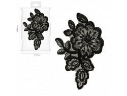 Écusson thermocollant - Fleur dentelle noire