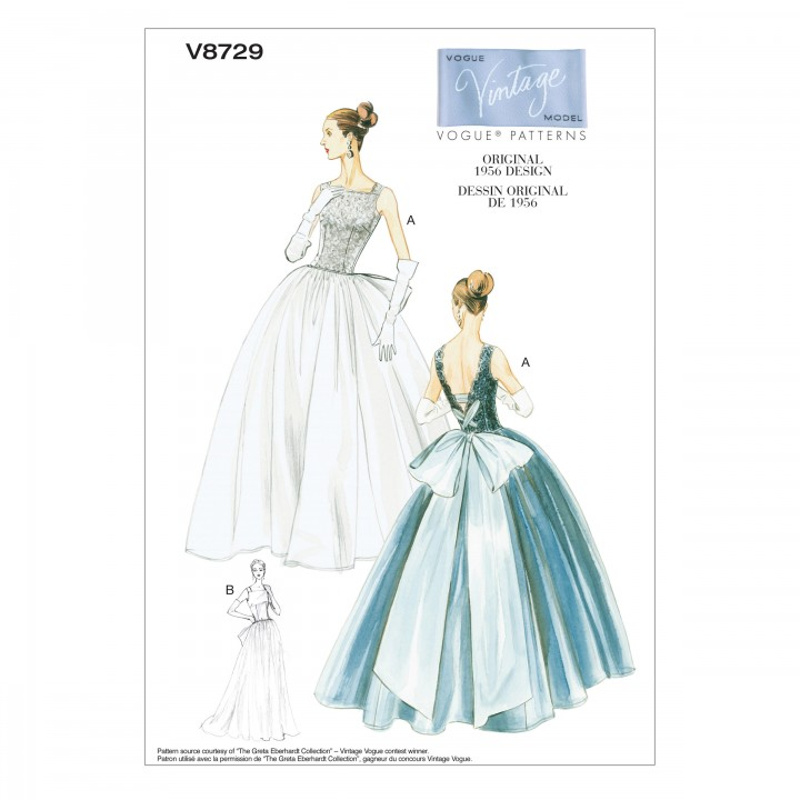 Patron de robe vintage - Vogue 8729, Mercerie Floriane