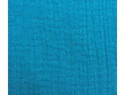 Tissu double gaze bleu canard