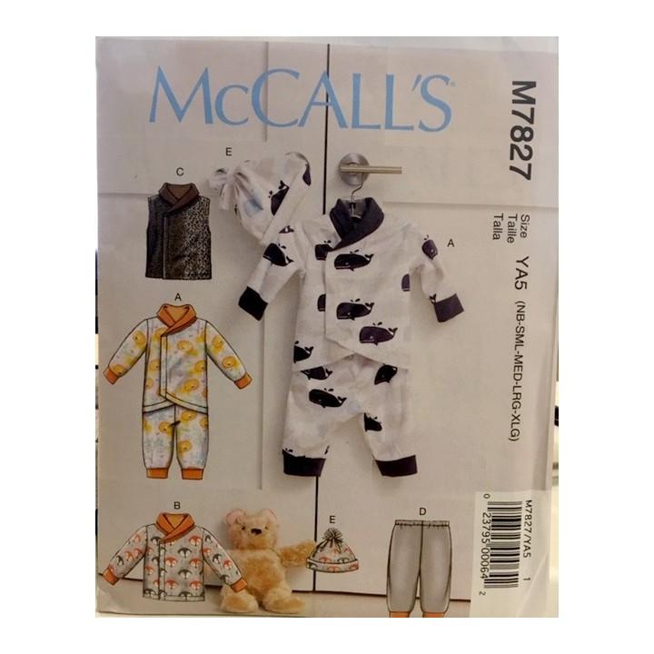 Patron veste, gilet, pantalon,chapeau pour bébé McCall's M7827