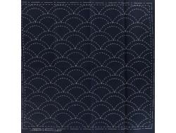 Coupon tissu à Sashiko navy - Mer bleue et vague
