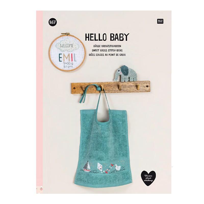 167 - Livre point de croix Hello Baby, RICO, Mercerie Floriane